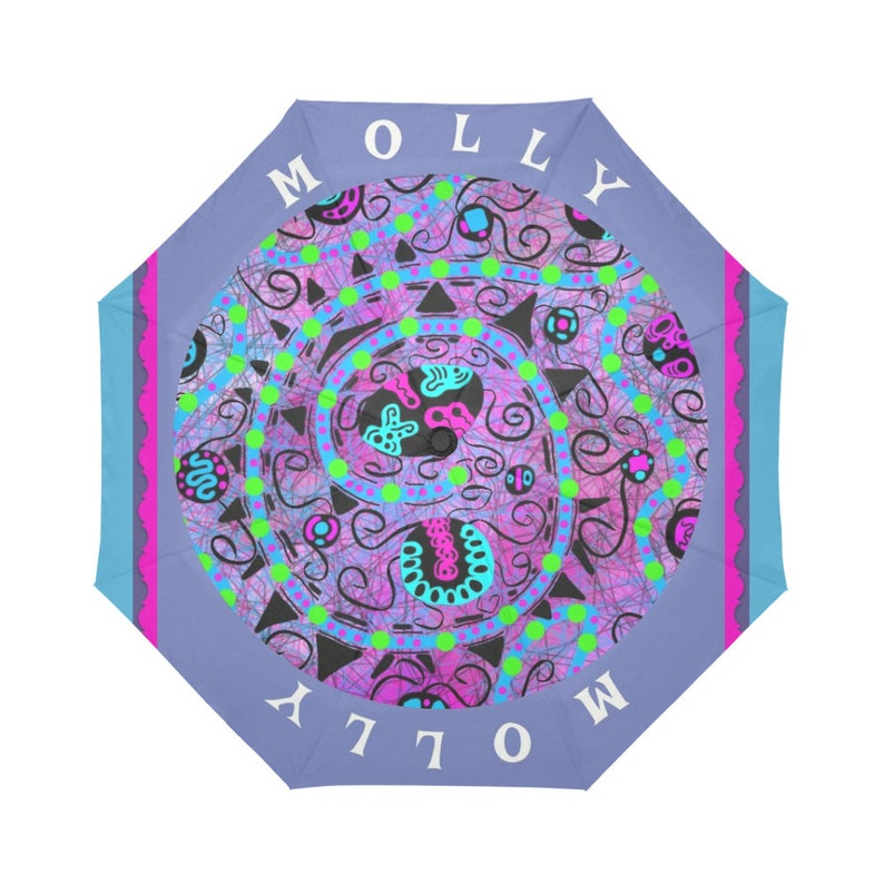 Blue Green and Pink Swirling Shapes and Colors Automatic Designer Rain Umbrella with Purple Handmade Abstract design Small Light