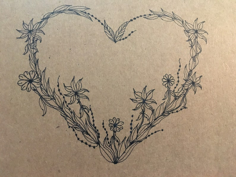 Black Vine Heart Greeting Card image 0