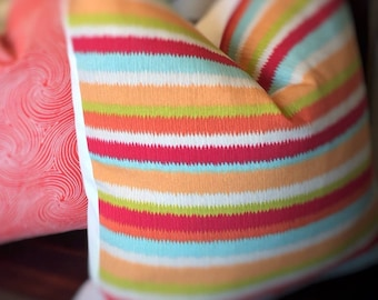 Decorative Outdoor Colorful Stripe Throw Pillow Cover,  Outdoor Cushion Cover For Patio, Home Living,  Housewares Decor