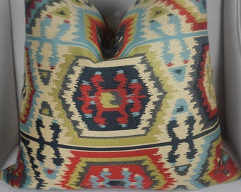 Aztec Multicolored Pillow Cover, Home Decor Red Blue Green Black Throw Pillow, Aztec Cushion Cover, Luxury Pillow Decor 00300