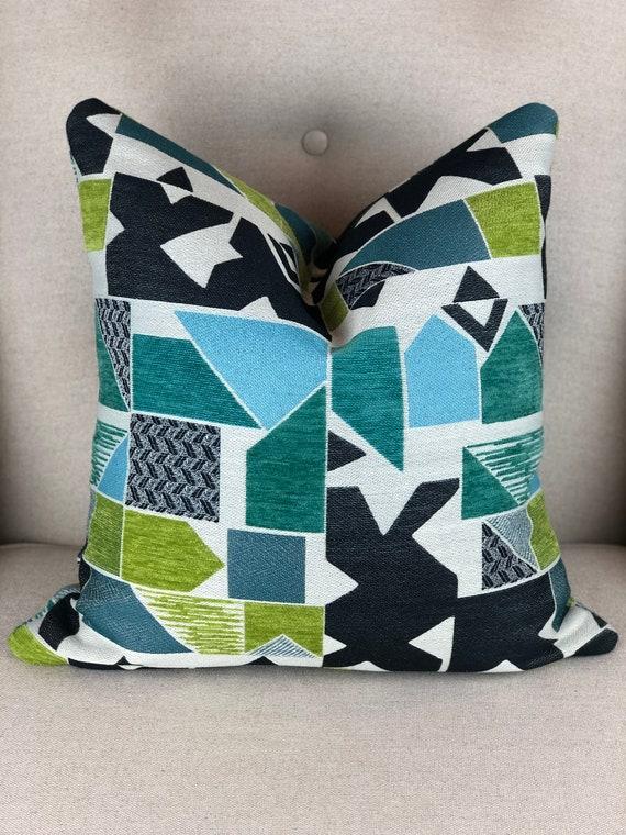 Multicolor Pillow Cover Green Blue