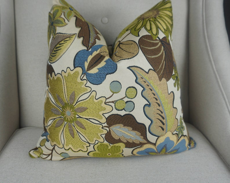 Floral Brown Gold Green Blue Leafy Pillow Cover Fall Throw image 1
