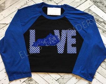 Kentucky applique shirt: kentucky shape embroidered shirt hot