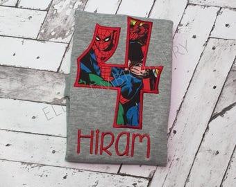 Super hero birthday shirt/ Marvel birthday shirt/ Spiderman birthday shirt/ Captain America birthday shirt