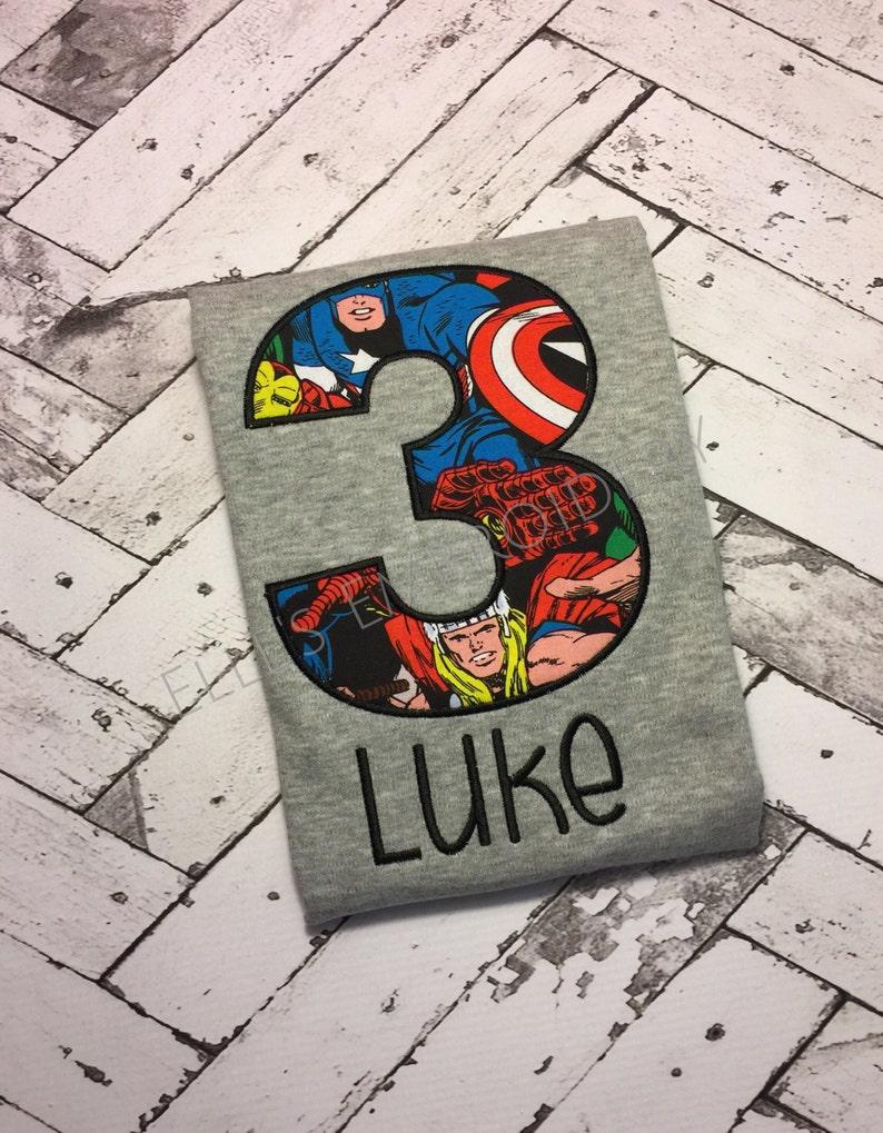 Marvel superhero shirt/ superhero birthday shirt/ Superhero image 0