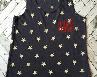 Monogrammed Fourth of July tank/ Vintage Fourth of July tank/ Red white and blue tank top