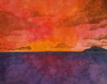 "Original Watercolor Painting - ""Sky's on Fire"" - 11x14 inches - Bright Painting - Watercolor Seascape - Seascapes - Impressionism"