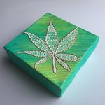 420 Henna Leaf - Henna Art on Canvas by Naty by Nature / Henna by Naty (Bud Cannabis Marijuana Weed Ganja)