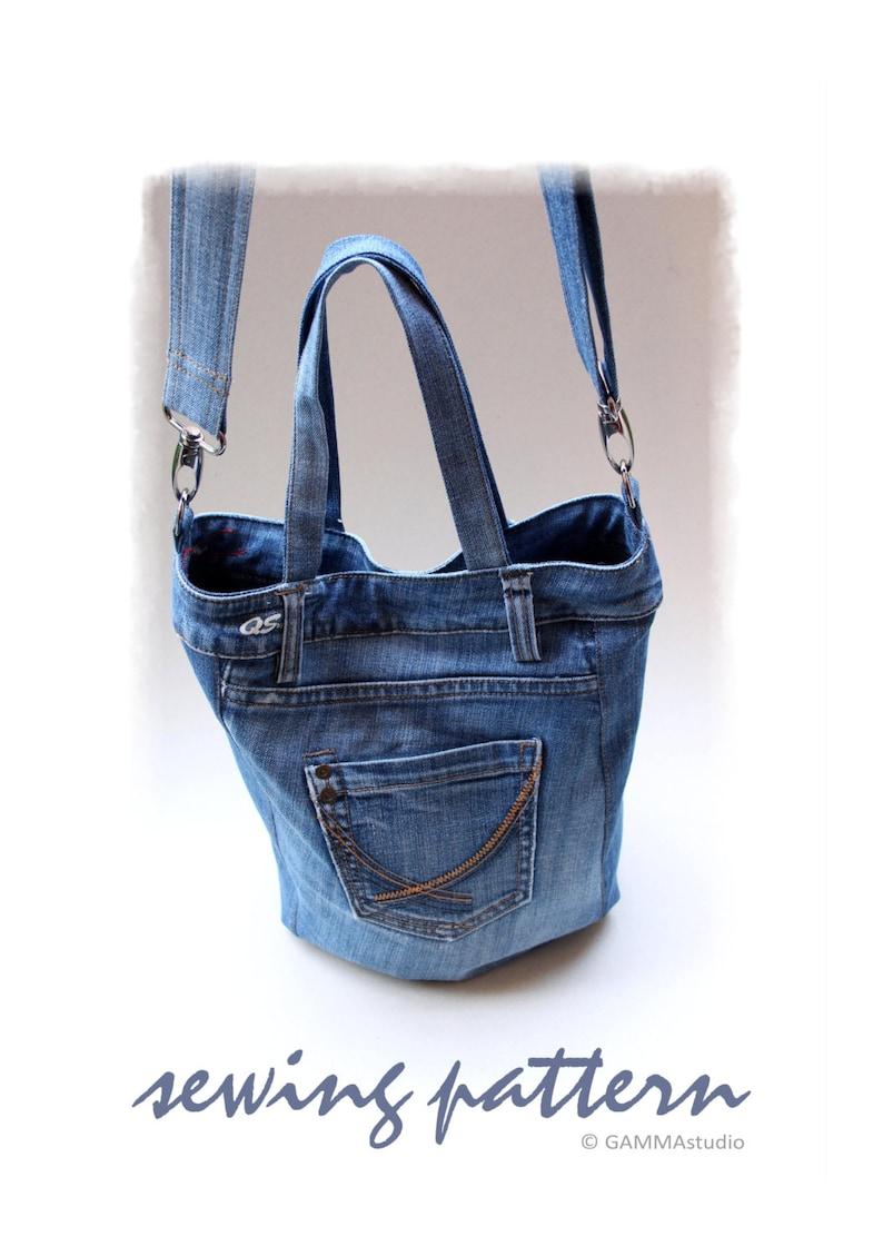 Sewing Denim Bag PATTERN DIY Denim Bag Jean bag TUTORIAL  ed743d0662f98