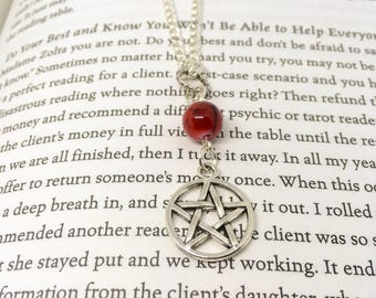 Red Beads - Pentagram Necklace - Glass Bead Necklace - Red Necklace - Charm - Gothic Necklace - Alternative Necklace - Pagan Necklace