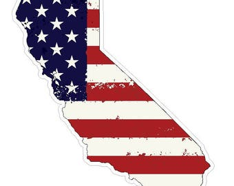 California State J7 USA Flag Distressed Vinyl Decal Sticker Car Truck Laptop Netbook Window