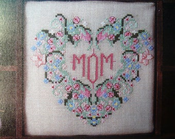 Mom's Heart counted cross stitch pattern from OOP The Cross Stitcher Magazine