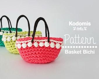 Patrón PDF - Bolso Cesto Bichi - Escala 1:6 para Blythe, Pullip, Barbie, Momoko o similar - DIY