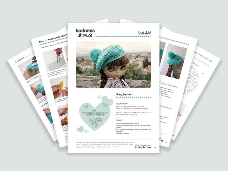 Patrón PDF Boina Aki para Blythe con pompón DIY  c25a03eddfd