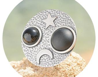 artjany moon stars cabochon ring round grey silver