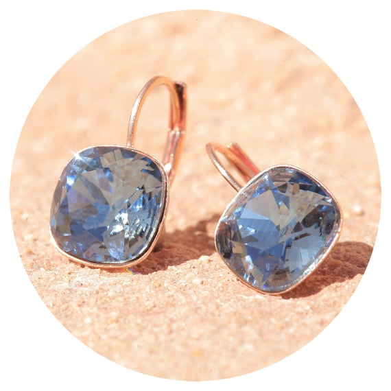artjany ohrring swarovski kristall cushion cut denim blue. Black Bedroom Furniture Sets. Home Design Ideas