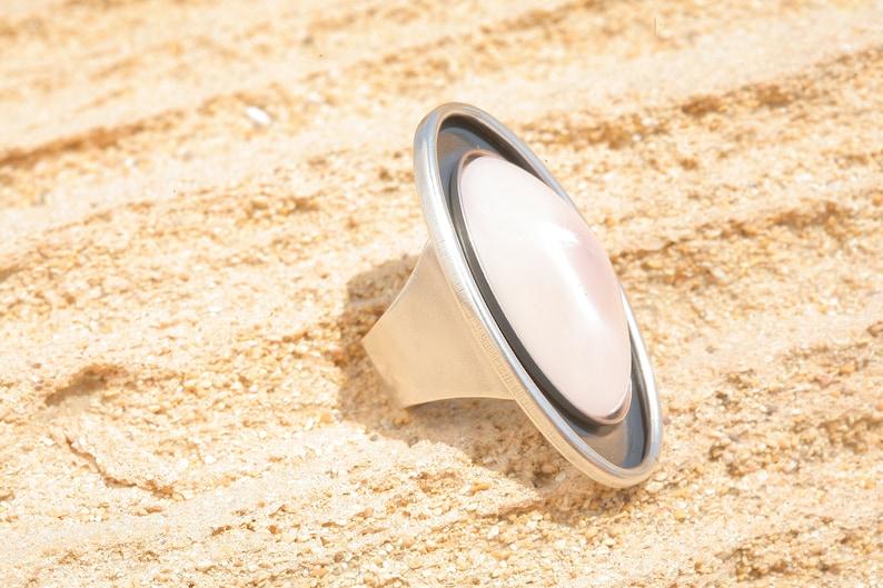 Artjany oval ring nude powder rose Silver