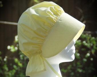 LITTLE GIRLS Bonnet Light Yellow Frontier Pioneer Reenactment  Brim, Long Neck cover