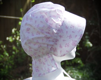LITTLE GIRLS Bonnet White Pink Floral Frontier Pioneer Reenactment  Brim, Long Neck cover