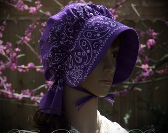 GIRLS Bonnet Purple Black Paisley Bandana Frontier Pioneer Reenactment  Brim, Long Neck cover