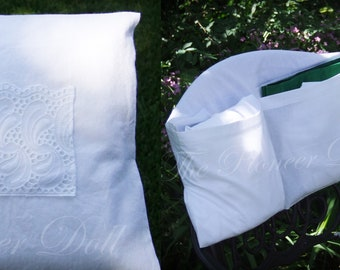 Fits Over Your Chair, LDS Temple Envelope *Wide Lace Pocket* Temple Bag for WOMEN, with temple card pocket, organizes Endowment Clothing