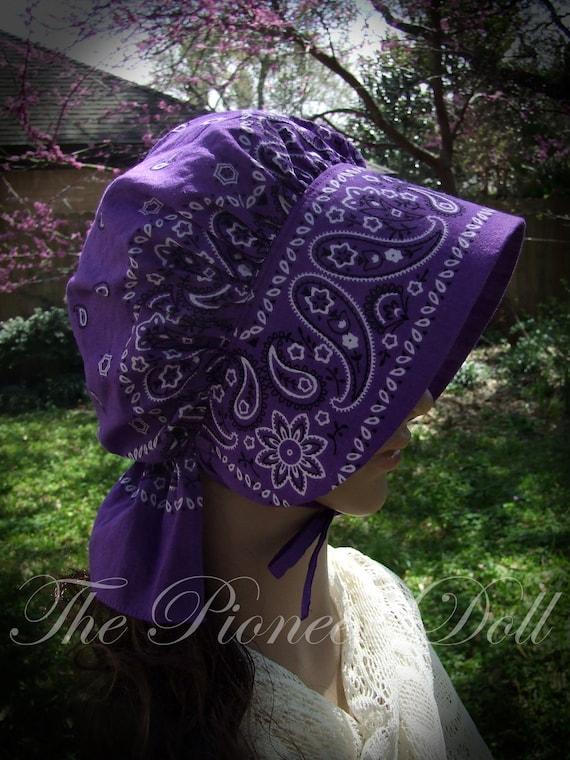 GIRLS Bonnet Purple Black Paisley Bandana Frontier Pioneer Reenactment  Brim Long Neck cover