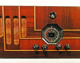Stromberg Carlson Model 130R (1938) wildly deco table antique radio with AM/Shortwave with mini-jack installed and BLUETOOTH available!!!!