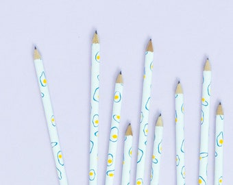 Egg Pencils, Graduation Gift, No. 2 Pencils with all-over floating eggs illustration