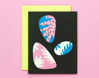 Easter Egg Cards • Easter Cards • Abstract Art Painted Egg Pebbles • Blank Card • by @mydarlin_bk