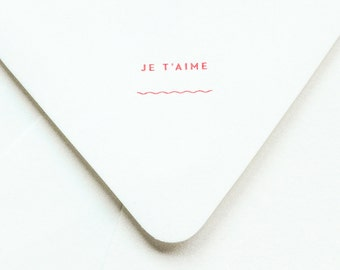 Je T'aime Notevelope - Funny Anniversary Card - Valentine Card - Funny Love Card - Letterpress Notecards - Heart Cards - Printed Envelopes