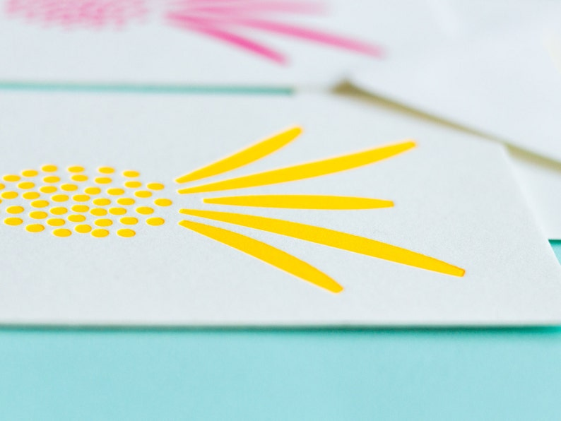 Pineapple Stationery Printed Envelopes Notevelopes Tropical Print Pineapple Decor Friendship Letterpress Just Because Notecards