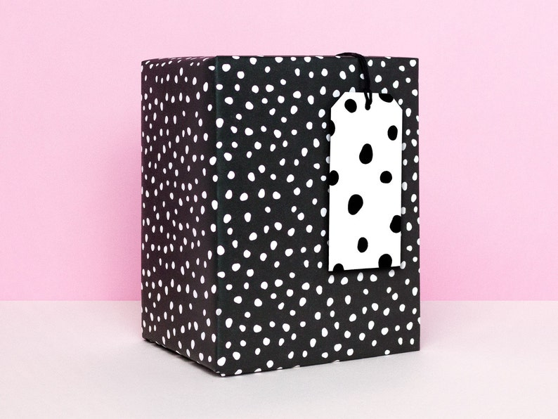 Birthday Party Wrapping Paper Polka Dot Gift Wrapping Paper Sheets Black and White Spotted Modern Wrapping Paper