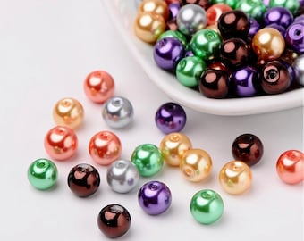 20-6 mm Halloween Color Pearl Mix Glass Beads | 6 mm Glass Beads | Halloween Color Mix | 4050