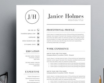 Resume Template | CV Template + Cover Letter for MS Word | Professional and Modern Resume Design | Instant Digital Download | Mac or Pc