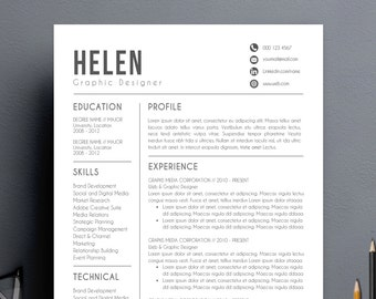 Modern Resume Template | Cover Letter + Reference Letter for Word | DIY Printable | Professional and Creative Resume Design | Mac or Pc