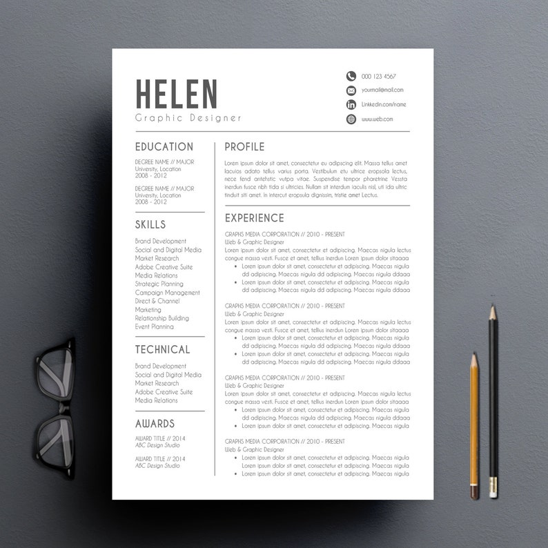 Modern Resume Template   Cover Letter + Reference Letter for Word   DIY  Printable   Professional and Creative Resume Design   Mac or Pc