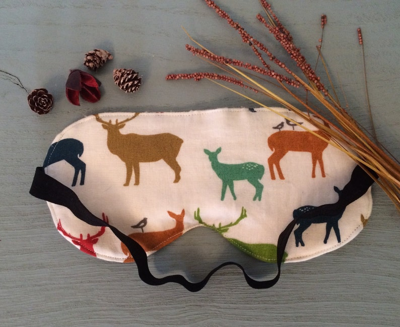 Animal eye pillow blindfold 100/% certified organic travel accessory sleeping mask Woodland Deer Organic Cotton Sleep Mask Hunter