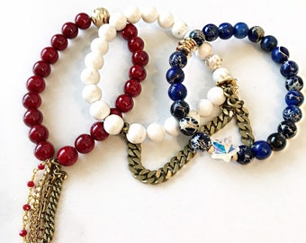 cb264ce28 Beaded Stackable Stretch Bracelets with Chains in Red, White, and Blue for  July 4th, Memorial Day, or any Holiday