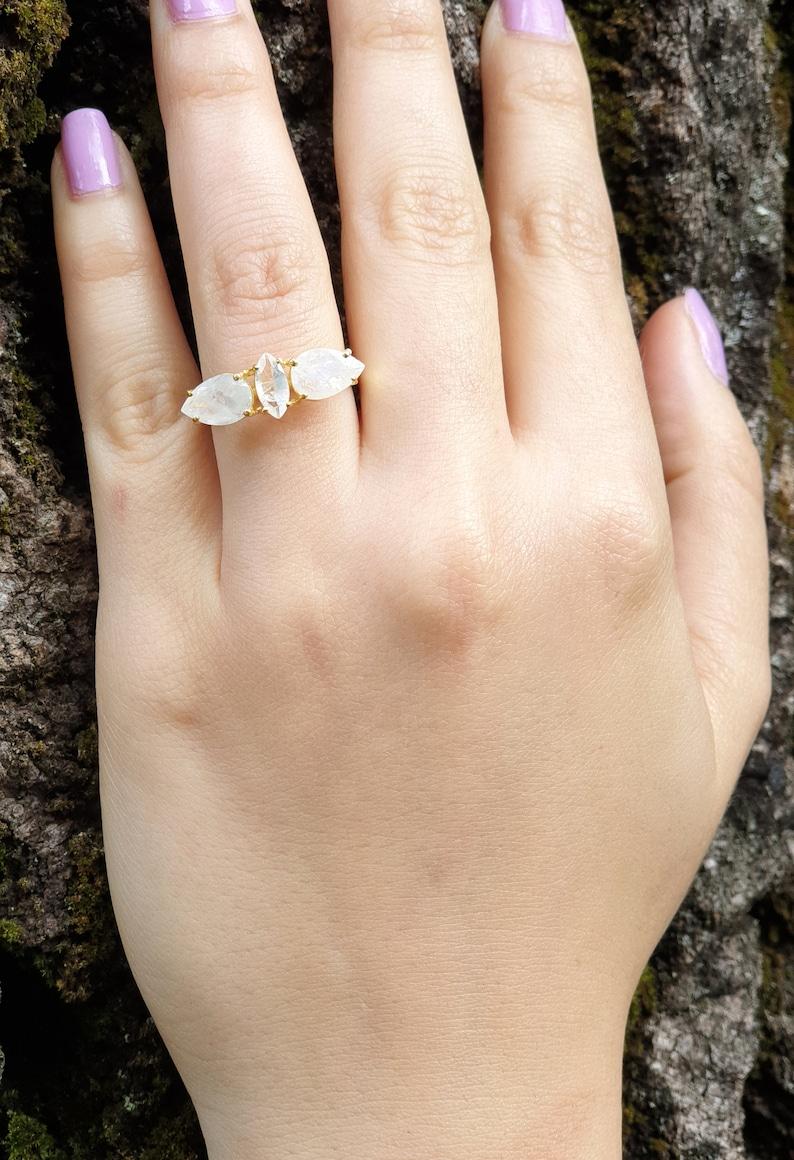 Gypsy Hippie Noyre Teardrop Marquise White Gemstone Vermeil Boho Chic Jewelry Statement Rainbow Moonstone Gold Plated Ring Silver 925