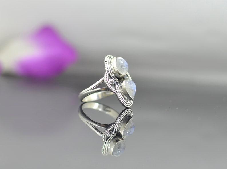 Large Teardrop White Gemstone Vintage Hippie Gypsy Boho Chic Statement Jewelry Rainbow Moonstone Antique Ring Sterling Silver 925 Noyre