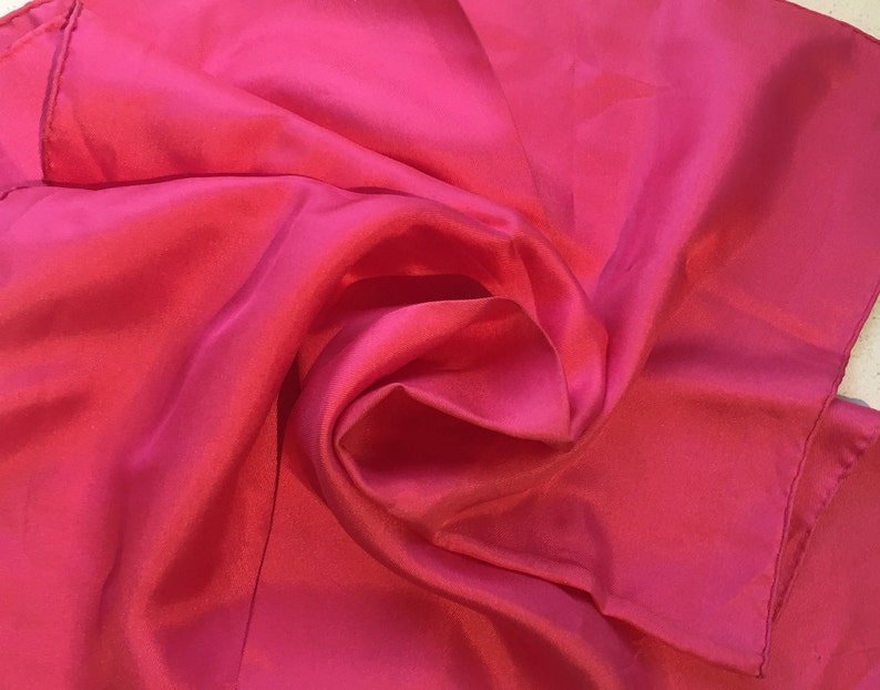 Hand Hemmed Perfect Unused from 1970s Stock Vintage Small ScarfHandkerchief Cerise Pink Pure Silk by KREIER of Switzerland