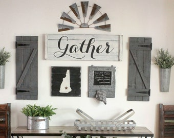 GATHER SIGN SET 3 8 Pcs Gallery Wall Set Dining Room Art Large Family Decor Modern Farmhouse Fall