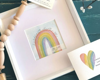 rainbow watercolor painting personalized optional wind chime 5 painting in 10 frame RAINBOW SYMPATHY GIFT for loss of baby