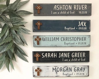 "PERSONALIZED BAPTISM GIFT, 18"" x 3.5"", Baptism Cross boy / girl, Dedication wall art, Confirmation gift, First Holy Communion, Christening"
