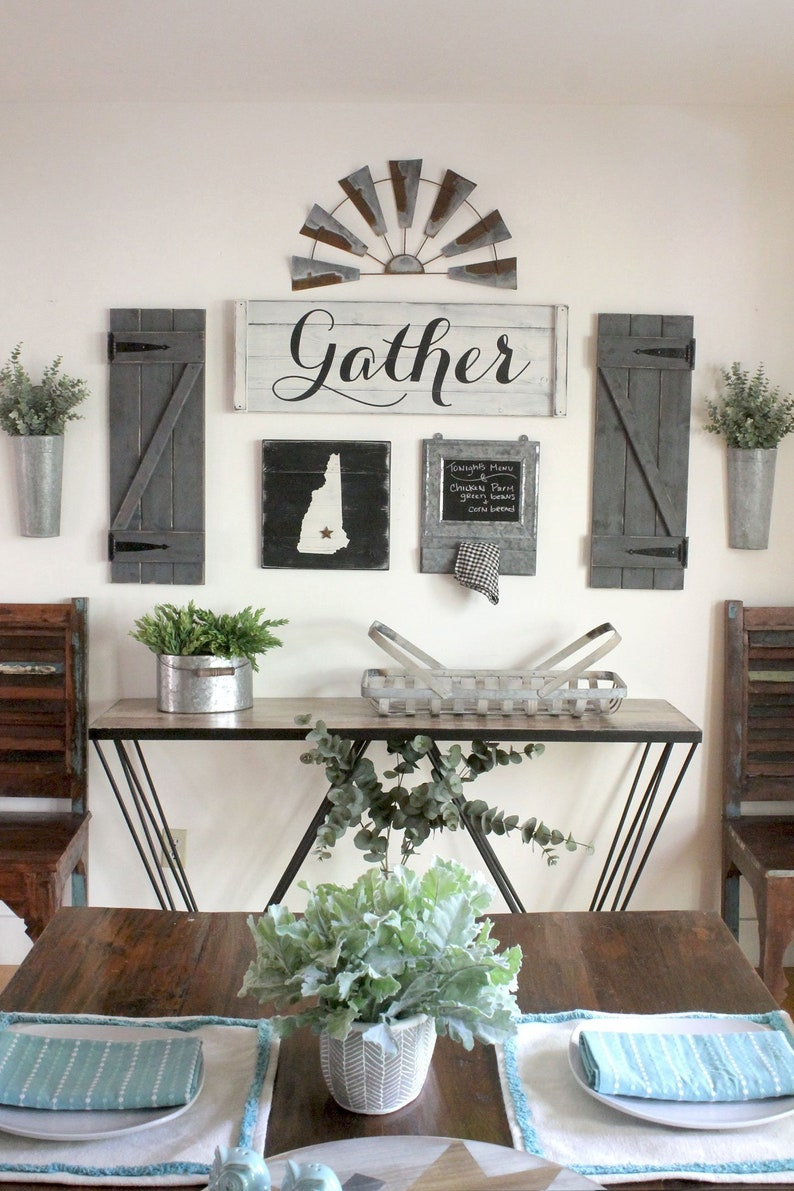 GATHER SIGN SET 3 8 Pcs Gallery Wall Set Dining Room Art