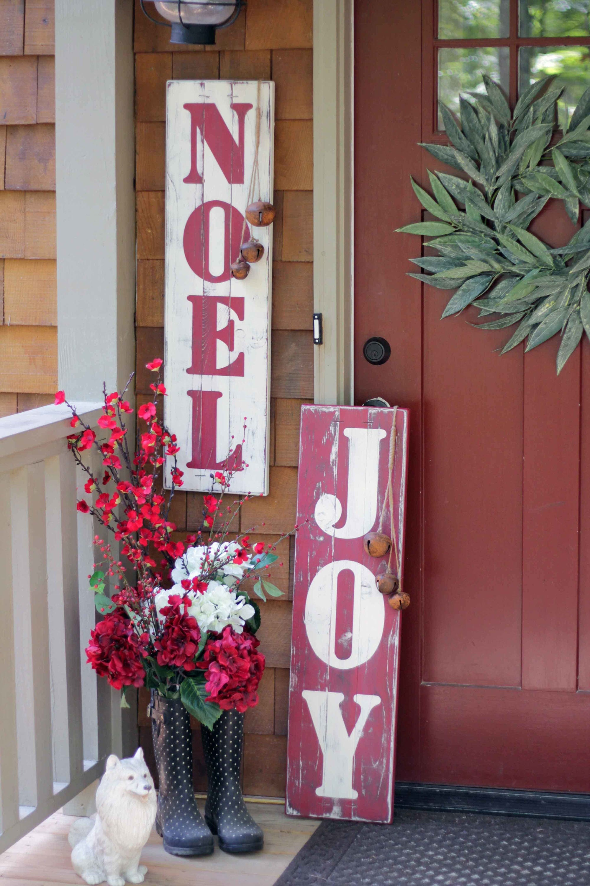 Rustic Joy Sign Front Door Christmas Decor Noel Sign Fixer