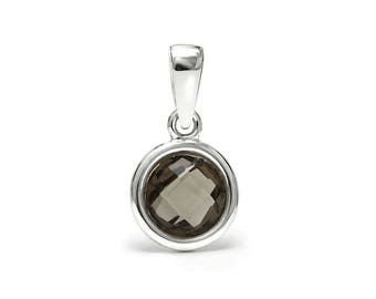 Smoky Quartz Pendant, 925 Sterling Silver. color brown, weight 0.8g, #46561
