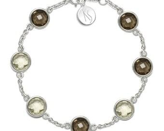Lemon Quartz, Smoky Quartz Bracelet, 925 Sterling Silver. , color yellow, weight 7.2g, #46640