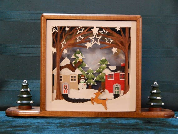 Christmas Shadowbox Decoration Frame In A Frame For Mantle Etsy