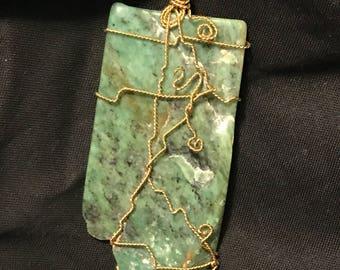 Real Jade wire wrapped necklace pendant